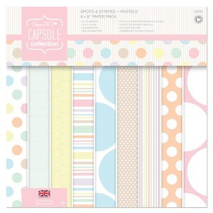 Docrafts Papermania Paper Pack 20,3x20,3cm Spots & Stripes Pastels