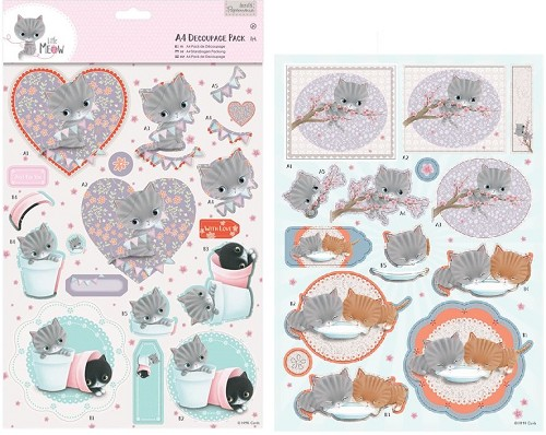 A4 Decoupage Pack - Little Meow - Friends
