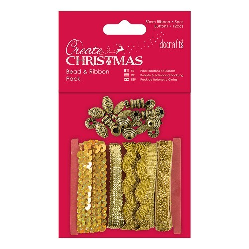 Beads and Ribbon Pack - Gold