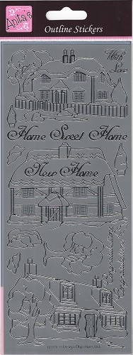 Docrafts Stickervel Home Sweet Home / New Home Silver