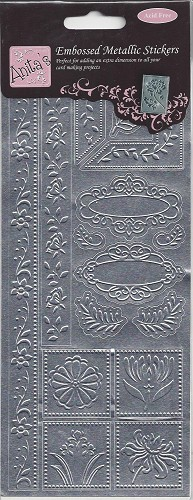 Docrafts Stickervel Floral Vines Embossed Zilver
