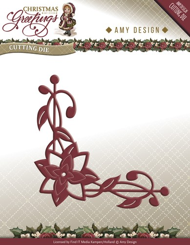 Amy Design die- Christmas Greetings Poinsettia Corner