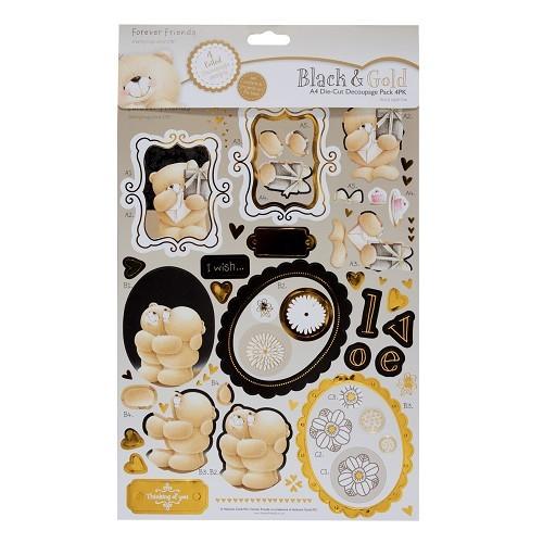 A4 Decoupage Pack Forever Friends Black & Gold