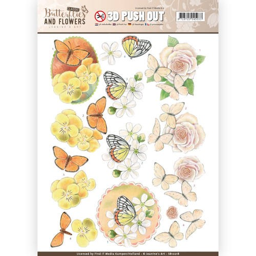 3D Pushout - Jeanines Art - Classic Butterflies and Flowers