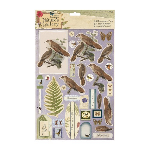 Docrafts A4 Decoupage Pack - Nature`s Gallery - Birds