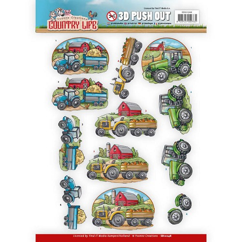 3D Push Out - Yvonne Creations - Country Life - Tractors