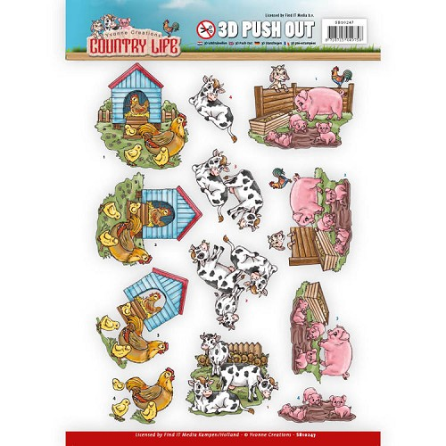3D Push Out - Yvonne Creations - Country Life - Farm Animals
