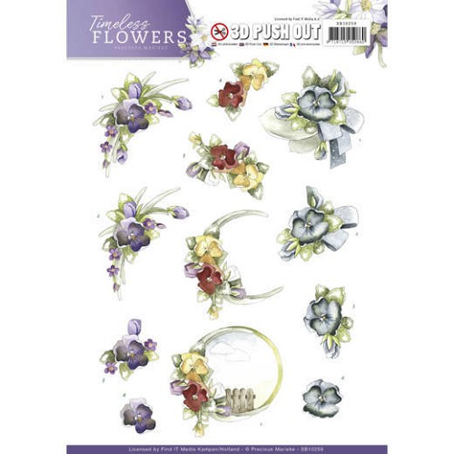 3D Push Out - Precious Marieke - Timeless Flowers - Violets