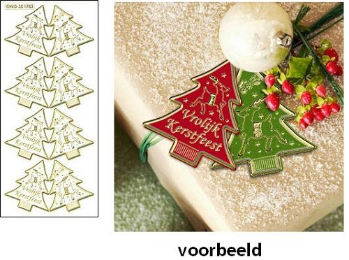 Doodey Stickervel Mini kaart kerstboom Transparant goud