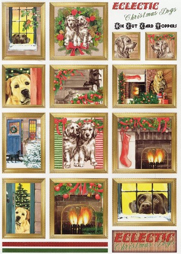 Card Toppers stansvel Eclectic Christmas Dogs
